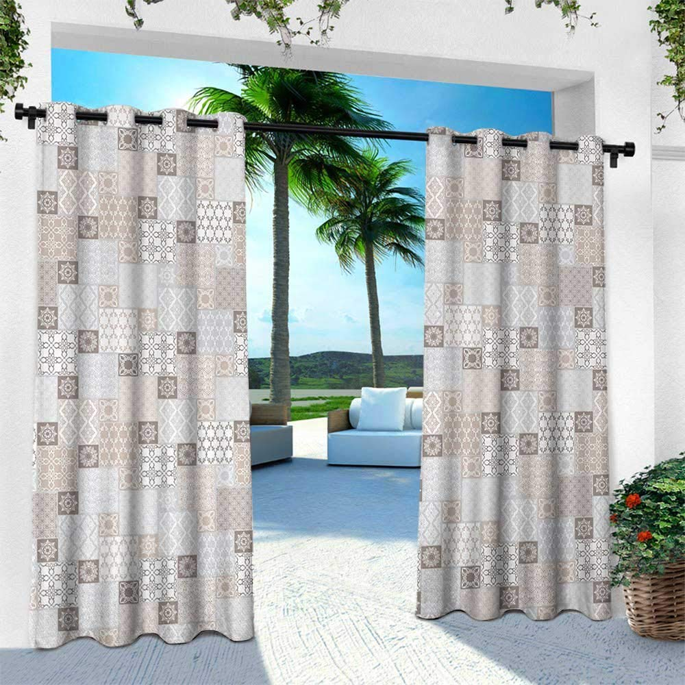Hengshu Asian Outdoor Privacy Curtain For Pergola Oriental Checkered Pattern Grid Style Patchwork Design Mosaic Ornamental Design W96 X L84 Inch Grey Tan Taupe Amazon In Garden Outdoors