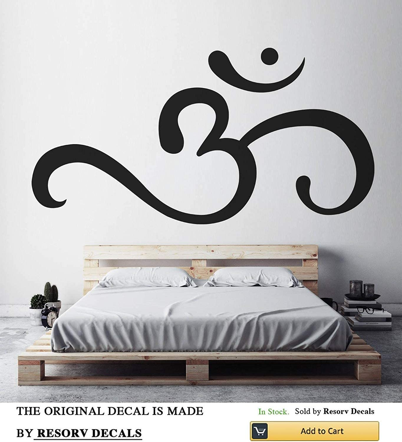 Om Symbol Inspirational Wall Decals - Removable Decor Art Stickers for Bedroom Living Room Kitchen - Buddhist Decal Sticker - Home Yoga Studio Decor for Women Men Girls Spiritual Symbol w20 h40