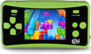 "JJFUN Retro Handheld Game Console for Kids, Built-in 182 Classic Games Arcade Entertainment Gaming System, 2.5"" LCD Portable FC TV-Out Video Game Player for Children-Green"