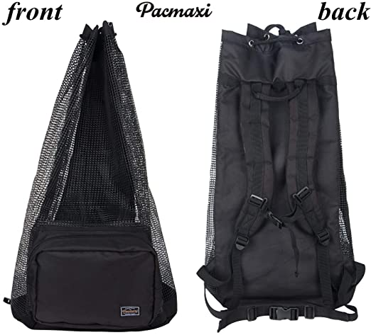 Holds Mask Snorkel PACMAXI Scuba Diving Bag Fins Oversized Mesh Scuba Diving Backpack for Snorkeling Gear /& Equipment