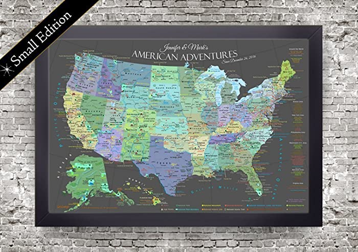 amazon com explore america map small framed map slate edition