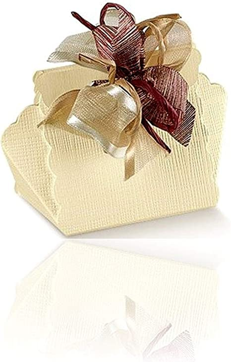 Einssein 1x Caja de Regalo Boda Cestino Crema Cajas Bonitas para cajitas Regalos Bombones Carton bolsitas Papel chuches Bodas Bautizo pequeñas pequeña recordatorios comunion Navidad Decorar: Amazon.es: Hogar