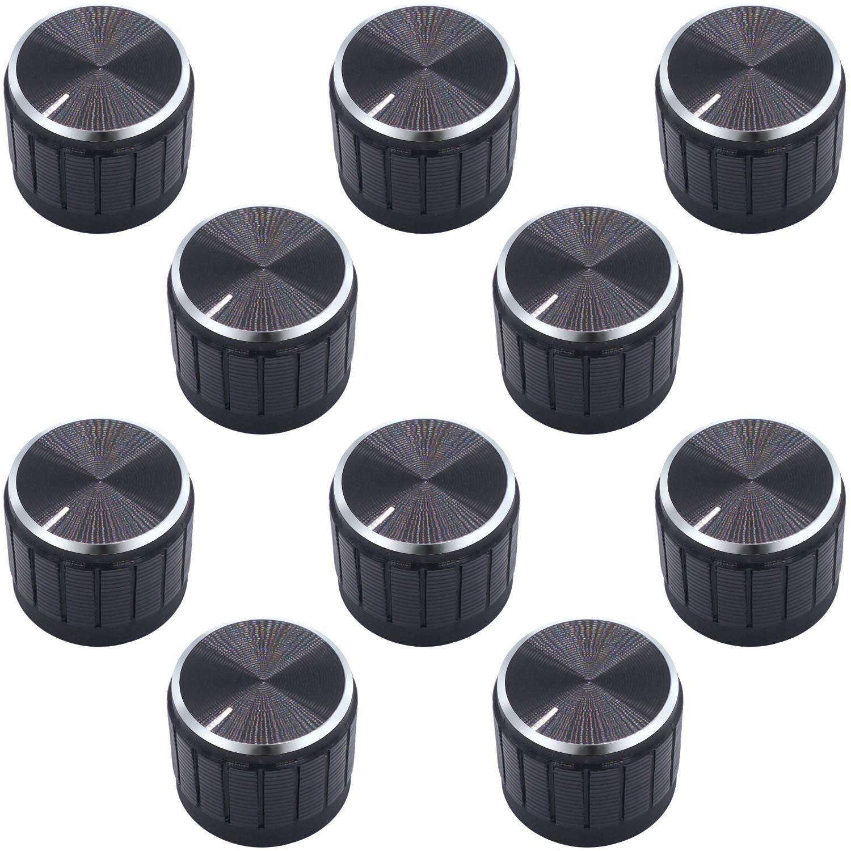10 Pcs Schwarz Metal 6mm Knurled Shaft Potentiometer Knobs B2SA