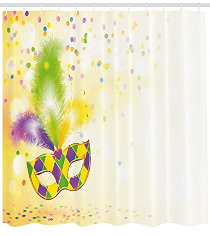 Ambesonne Mardi Gras Shower Curtain Festival Mask With Decorative Feathers Colorful Dots Confetti Party