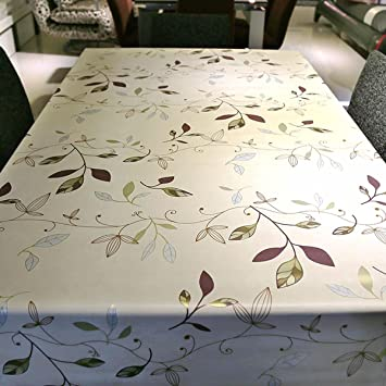 leevan heavy weight vinyl rectangle table cover wipe clean pvc tablecloth oil proofwaterproof - Kitchen Table Covers Vinyl