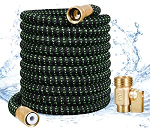 Garden Hose,50 FT Expandable Water Hose,Flexible Expanding Garden Hose, Lightweight No-Kink Flexibility Garden Hose with 3/4 Inch Solid Brass Fittings & Triple Latex Core for All Your Watering Needs
