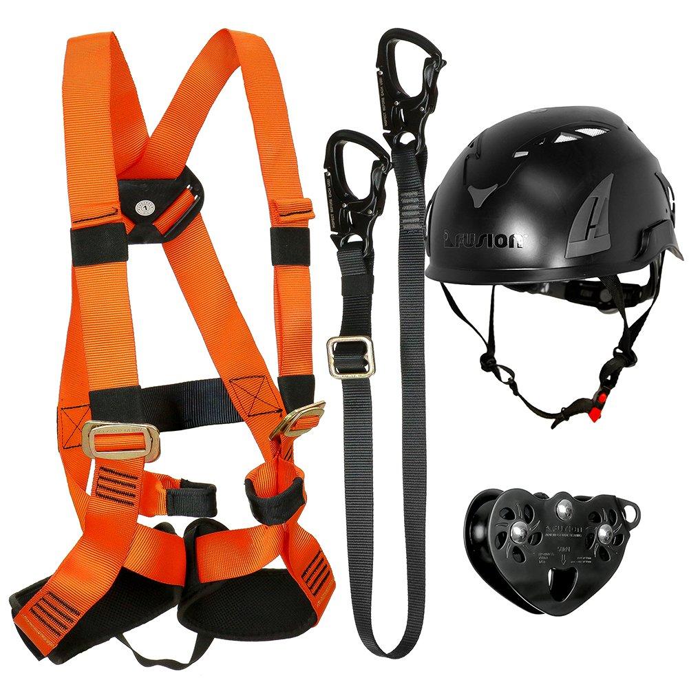 FUSION CLIMB 戦術版キッズ商業ジップラインキットハーネス/ストラップ/トロリー/ヘルメットバンドルFTK-K-HLTH-07   B077MTHJL8