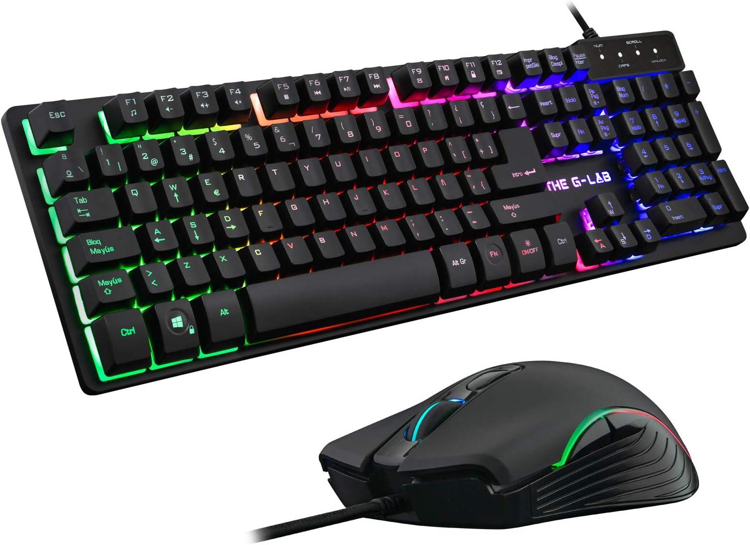 THE G-LAB Combo KRYPTON Pack de Teclado Gaming USB y Ratón Multicolor Retroiluminación – Teclado Gaming QWERTY - Incluye Ñ - Anti-Ghosting + Ratón Gaming 6 Botones 3200 DPI – PC PS4