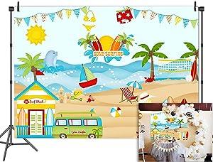Fanghui Tropical Surfing Shark Background For Photography Vinyl 7x5ft Summer Beach Sea Party Banner Photos
