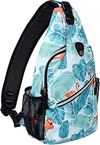 MOSISO Sling Backpack,Travel Hiking Daypack Pattern Rope Crossbody Shoulder Bag, Flamingo