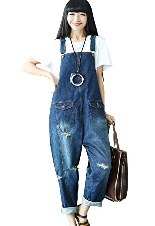 926afe63eb9 Flygo Women s Plus Size Floral Printed Wide Leg Distressed Bib Denim  Overalls Jumpsuits with Pockets (