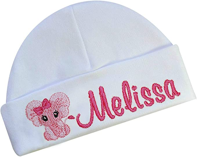 Personalised Embroidered Baby Hat Pink