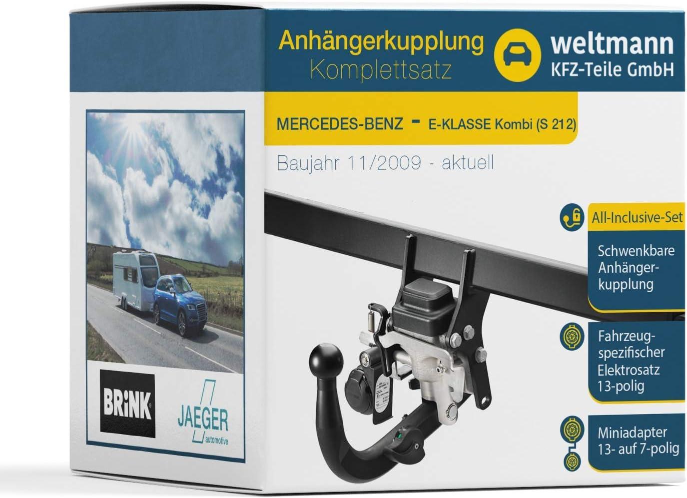 Weltmann 7D500424 - Enganche de remolque giratorio + juego eléctrico de 13 polos AHK para Mercedes Benz Clase E Combi S 212