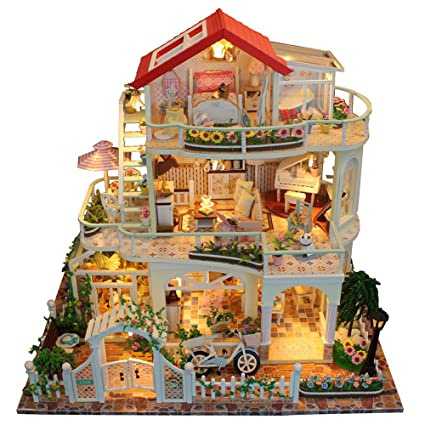 SHZONS Doll House With Furniture, DIY Wooden And Plastic Dollhouse With LED  Light Luxurious 3