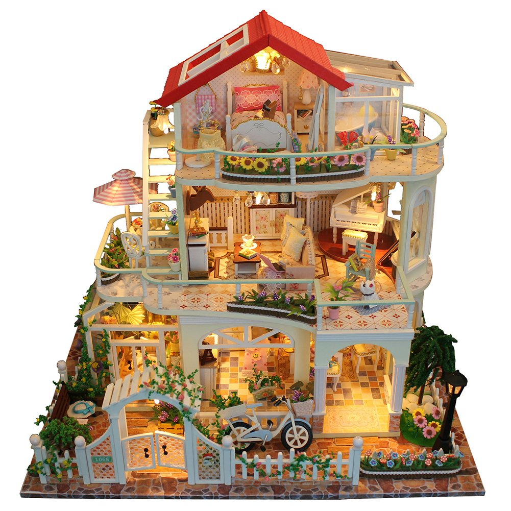 SHZONS Doll House with Furniture, DIY Wooden and Plastic Dollhouse with LED Light Luxurious 3 Layers Cottage for Valentine's Day and Girls,13.39×11.81×9.45 inch