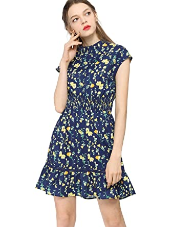 68e5bddf186 Allegra K Women's Ruffle Neck Cap Sleeves Smock Waist Lace Trim Skater  Floral Dress Blue XS