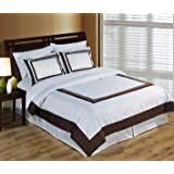 Hotel Wrinkle Free White and Chocolate 2pc Twin / Twin XL Comforter Cover (Duvet-Cover-Set) 100 % Cotton 300 TC