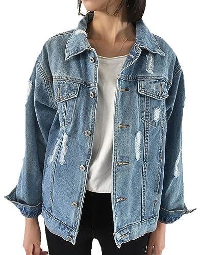 Scothen El otoño con estilo de las mujeres otoño abajo con estilo del dril de algodón lavó con la chaqueta de Jean de los remiendos La chaqueta Coatless los pantalones vaqueros Outwear la chaqueta
