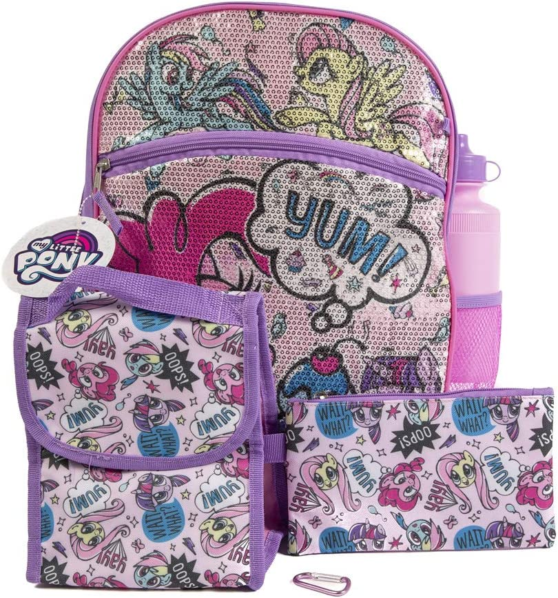My Little Pony Backpack 5 Pc. Set for Girls, 16 in. Sequin Backpack w/My Little Pony Lunch Bag & Pencil Case