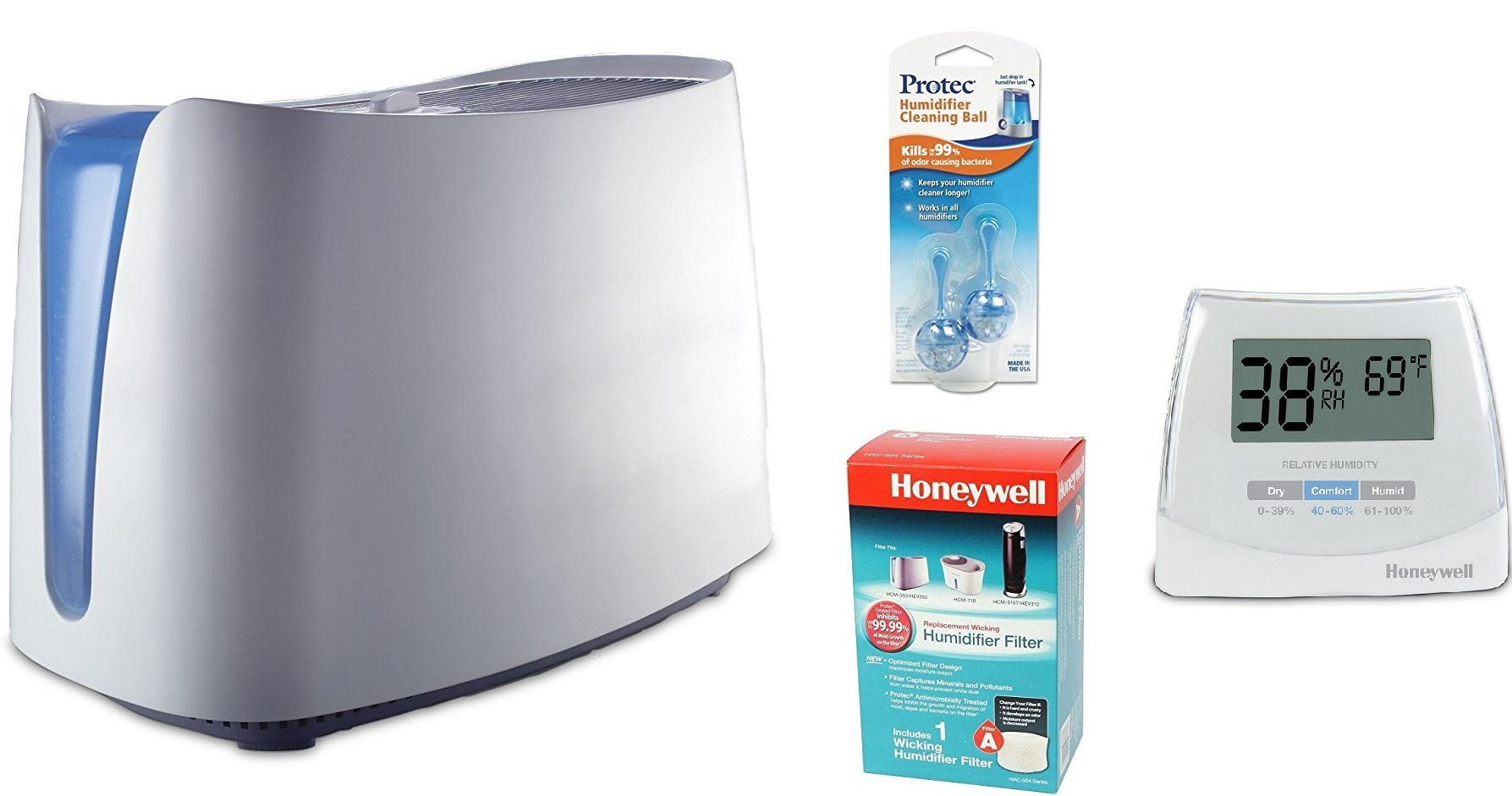 Honeywell HCM350W UV Germ Free Cool Moisture Humidifier and Honeywell HAC-504AW Humidifier Filter, PC2V1 Humidifier Cleaning Cartridge, and Humidity Monitor Bundle