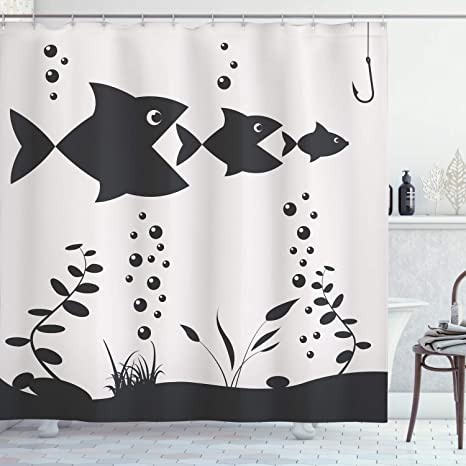 Amazon Com Ambesonne Fishing Shower Curtain Big Fish Eats The Little Theme With Bubbles Coral Reef And Hook Cloth Fabric Bathroom Decor Set With Hooks 70 Long Charcoal Coconut Home Kitchen
