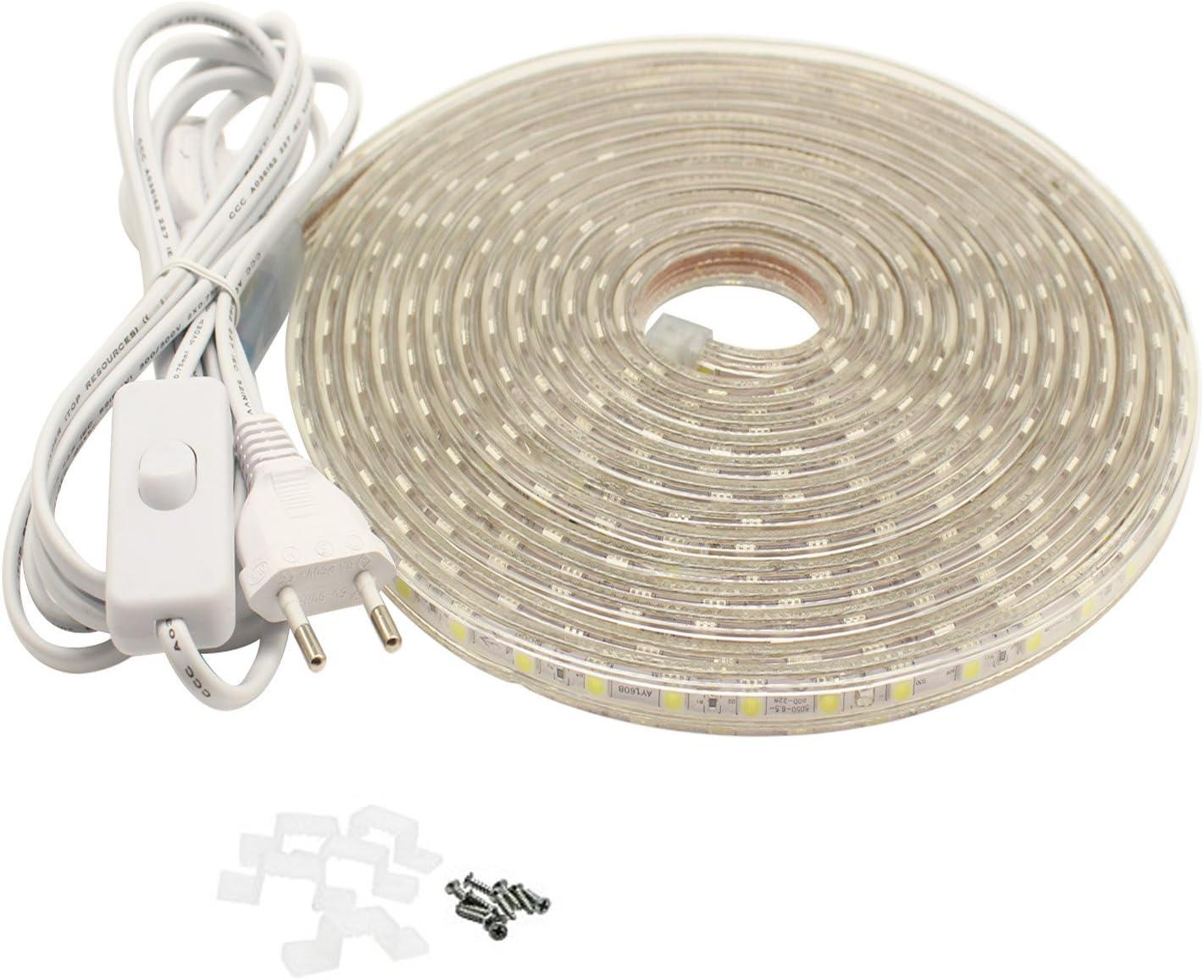 Tiras LED 5M con Interruptor, 220V IP65 Impermeable 5050 SMD ...