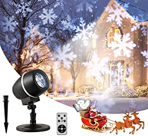 Tangkula Christmas Snowflake LED Projector Lights, Rotating Snowfall Projection with Remote Control, Outdoor Landscape Decorative Lighting for Christmas, Holiday, Party, Wedding, Garden, Patio