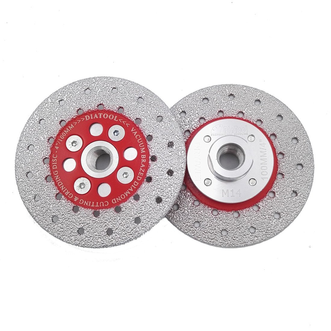 DIATOOL 1pc 4.5' Premium Quality Double Sided Vacuum Brazed Diamond Cutting Grinding Disc with M14 Thread profiling Edges Smoothing Out Inside sinkhole cuts Smoothing SHANGHAI DIATOOL CO. LTD.