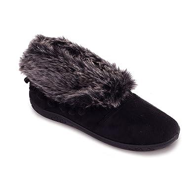 Padders Femmes Chausson en Microsuède 'Eskimo' Avec fausse fourrure doublure pour les nuits froids Extra Grande Taille EE Talon 20mm Avec Chausse-Pied Gratuit upZM0P6GRR