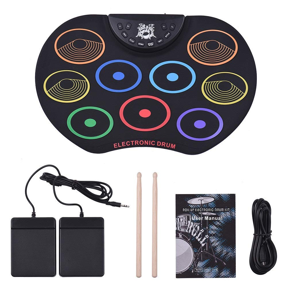 TAESOUW-Musical Compact Size Electronic Drum Set Roll Up Practice MIDI Drum Kit with 9 Silicon Pads Headphone Jack No Speaker Sustain Pedals Drum Sticks Recording Playback Functions Gift for Kids by TAESOUW-Musical