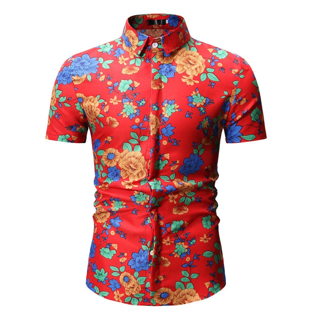 Xlala Men Short Sleeve Summer Printed Slim Fit Stand Collar Button Shirt Beach Vacation Style Top Personality Hippie Hip hop Blouse (Red, M)