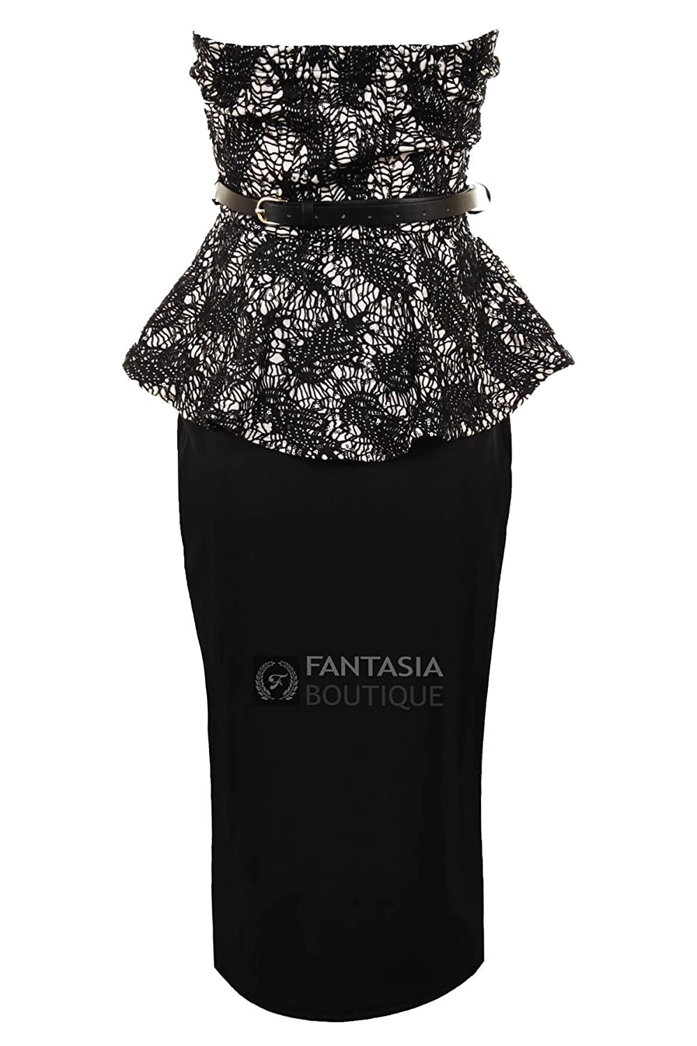 Fantasia Boutique ? Ladies Lace Sequin Boobtube Peplum Bodycon Skirt Knee Length Womens Dress