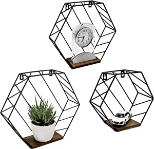 NAUMOO Metal Hexagon Floating Shelves - Wall Mounted Wire Hexagon Shelves - Modern Geometric Decor for Home, Living Room, Bedroom and Bathroom - Screws Anchors Included - Set of 3