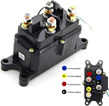 2 post winch motor wiring diagram amazon com 12v 250a winch solenoid relay contactor thumb truck  12v 250a winch solenoid relay contactor
