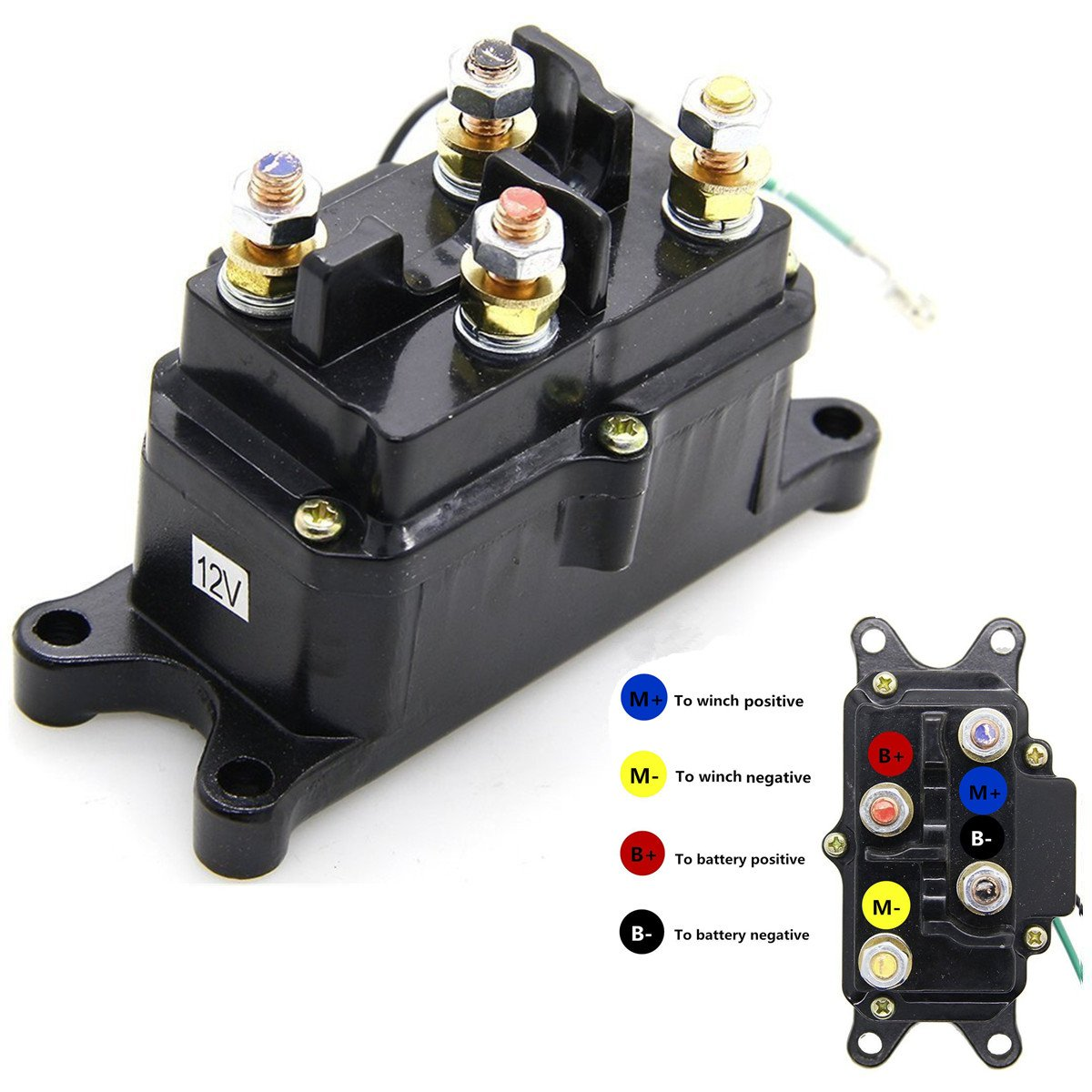 12v 250a winch solenoid relay contactor thumb truck for atv utv 4x4 vehicles Badlands Winch Solenoid Schematic