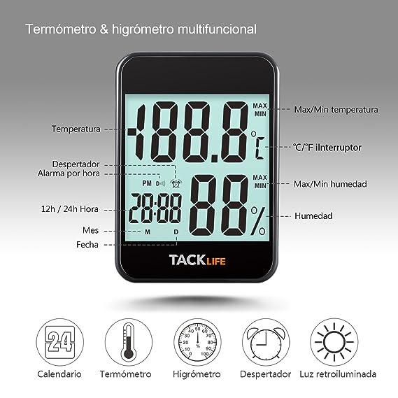 TACKLIFE Higrómetro Termómetro, HM02 Medidor de Humedad y Temperatura, Pantalla Retroiluminada para Mostrar Medición de Humedad y Temperatura, Ajuste ...