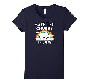 Women's Save The Chubby Unicorns T-Shirt - Sarcastic Funny Gift XL Navy