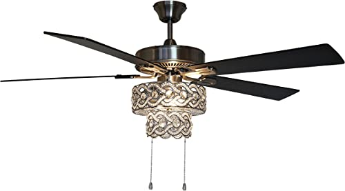River of Goods Glam 52 Inch Width Tiered Crystal Chandelier LED Ceiling Fan
