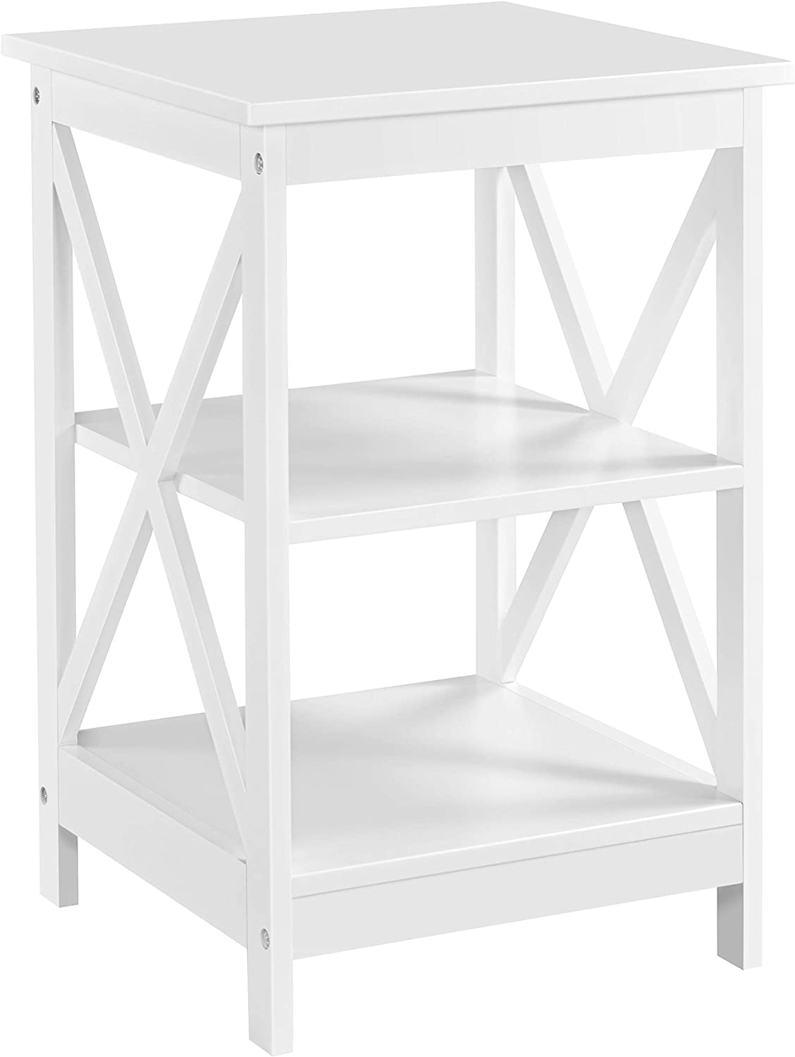 YAHEETECH 3 Tier Sofa Side End Table with Shelf, X Shape Chair Side Snack Table for Living Room, Bedside Table Night Stand Display Unit Organizer, White