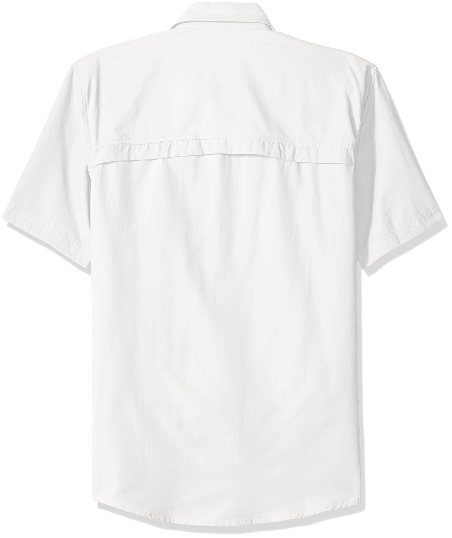 G.H Mens Explorer Short Sleeve Button Down Fishing Shirt Solid Flap Pocket Bass /& Co