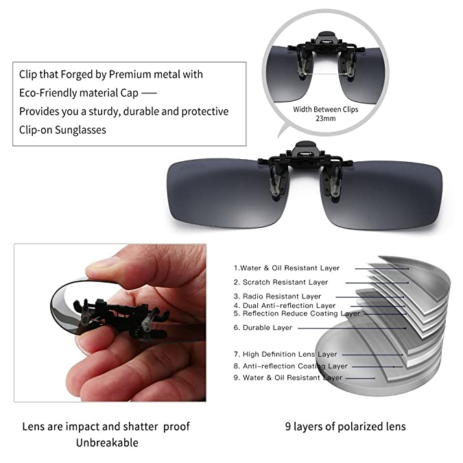 4dea0c92e2 Amazon.com  JESSIEDANTON Polarized Clip-on Flip Up Metal Clip Rimless  Sunglasses