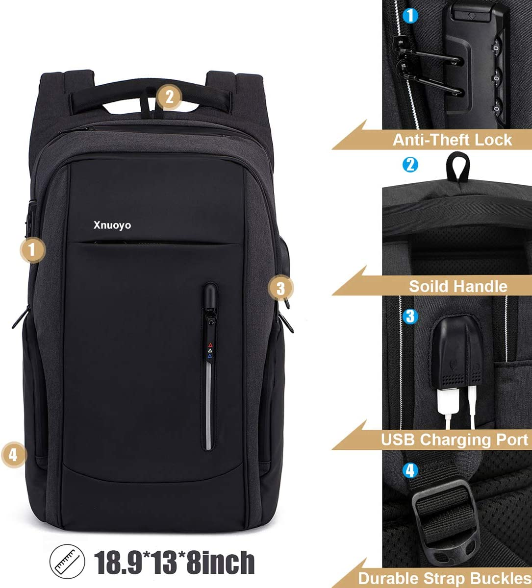Water Resistant College School Computer Bag for Women Men Black 15.6 Inch Business Anti Theft Lock Slim Durable Laptops Backpack with USB Charging Port Headphone Hole Xnuoyo Travel Laptop Backpack