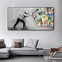 Banksy Art Behind The Curtain Canvas Paintings Wall Art Posters And Prints Graffiti Street Art Wall Pictures Home Decor…
