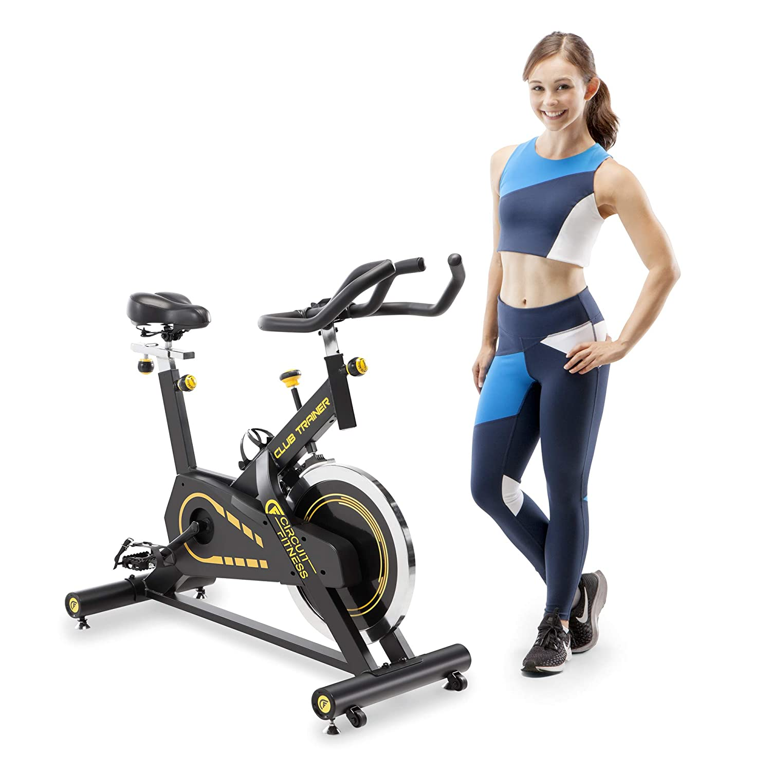 392b623f088 Amazon.com   Circuit Fitness Deluxe Club Revolution Cycle for Cardio  Exercise - Yellow   Sports   Outdoors