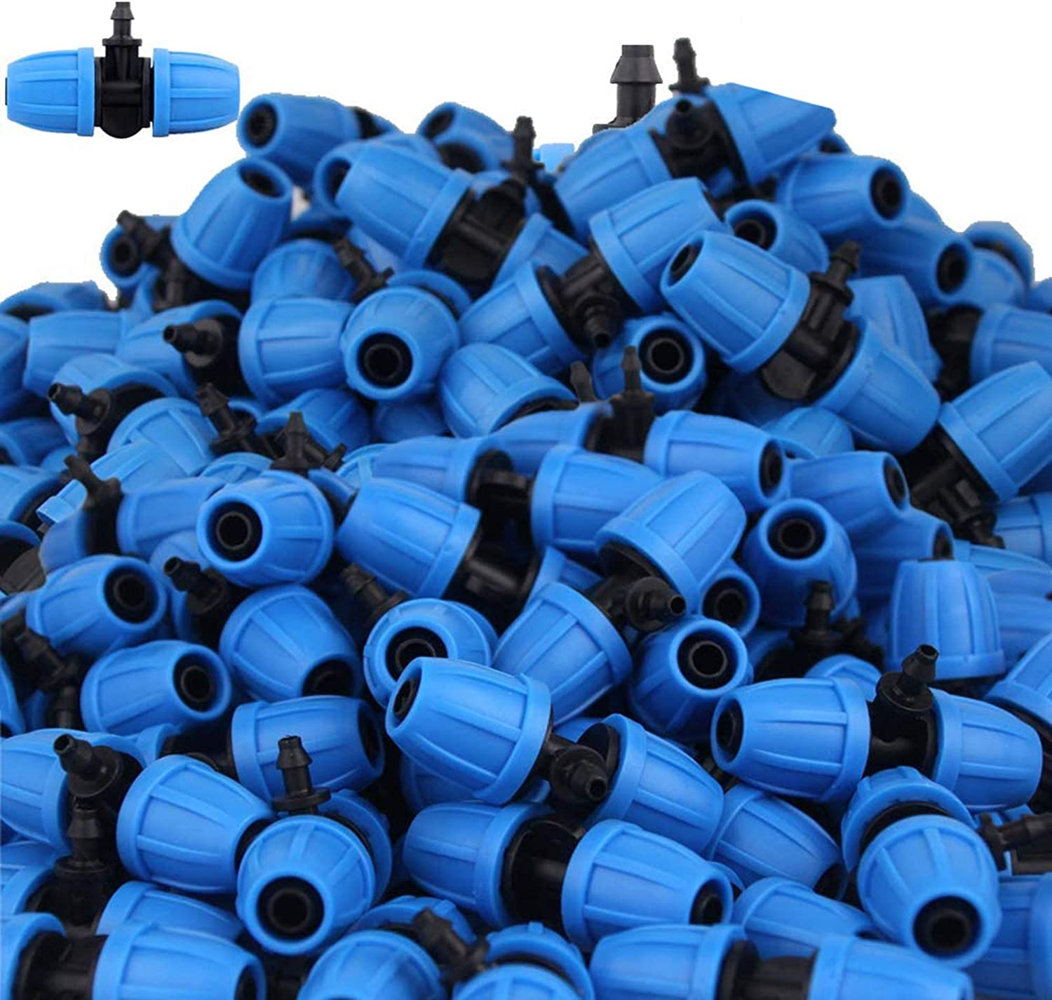 Lock nut T-Shaped Special-Shaped Three-Way Connector is Converted from 8-12/9-12 Hose to 4/7mm Hose/Garden Irrigation Watering System accessories/30 pcs (Blue 02)
