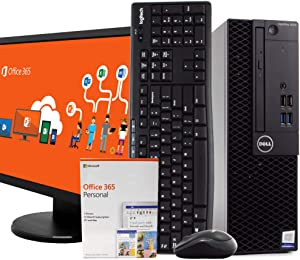 "Dell 3050 SFF PC Desktop Computer, Intel i5 3.20GHz, 8GB RAM, 1TB Hard Drive, Windows 10 Pro, Microsoft Office 365 Personal, 19"" LCD, Wireless Keyboard & Mouse, New 16GB Flash Drive, WiFi (Renewed)"