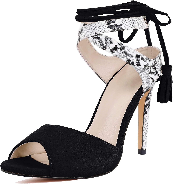 Womens Peep Toe Platform Heels Sandals Lace Up Tie Sexy Stilettos Dress Pumps Shoes
