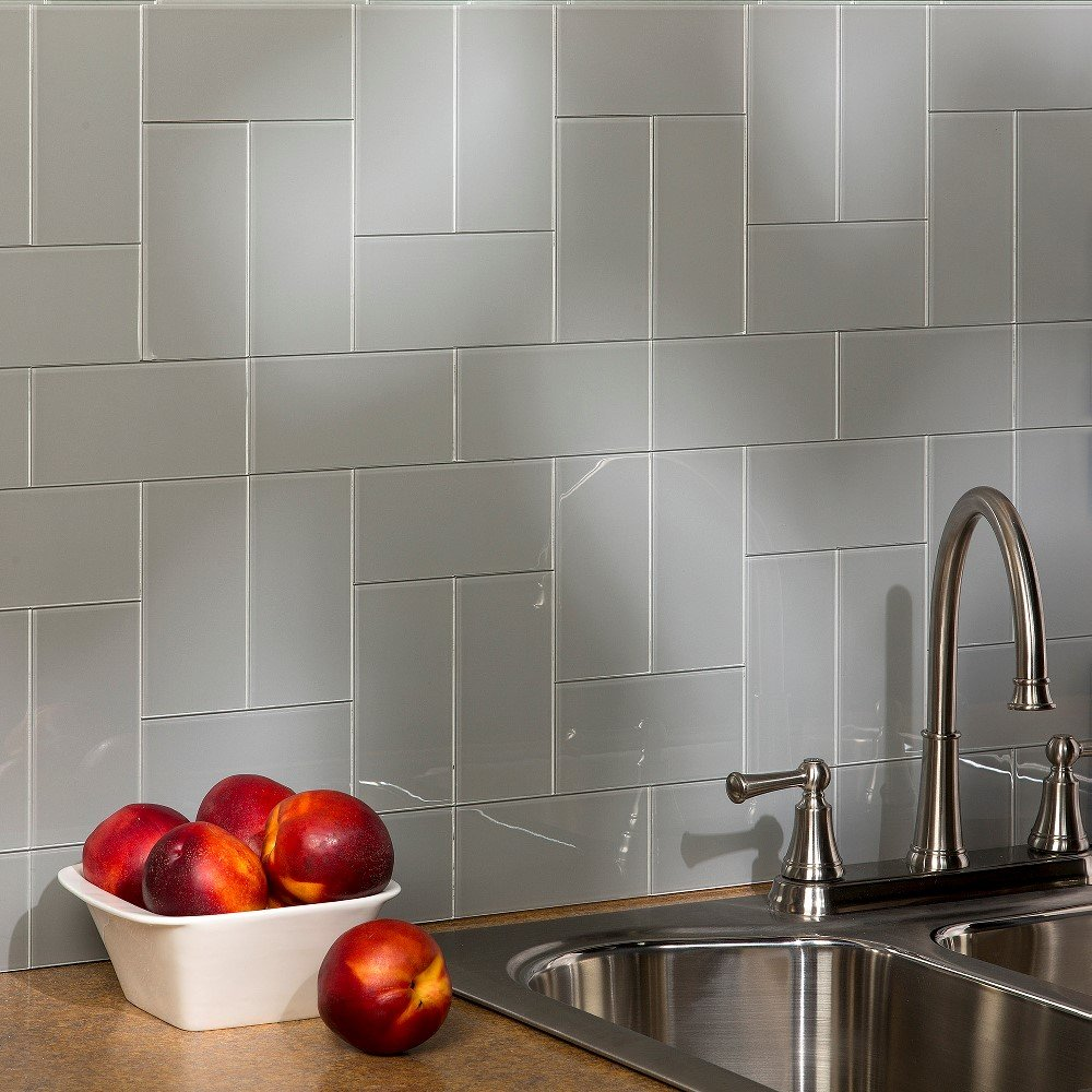 Aspect Peel and Stick Backsplash Kit Steel Glass Tile for Kitchen and Bathrooms (15 sq ft Kit)