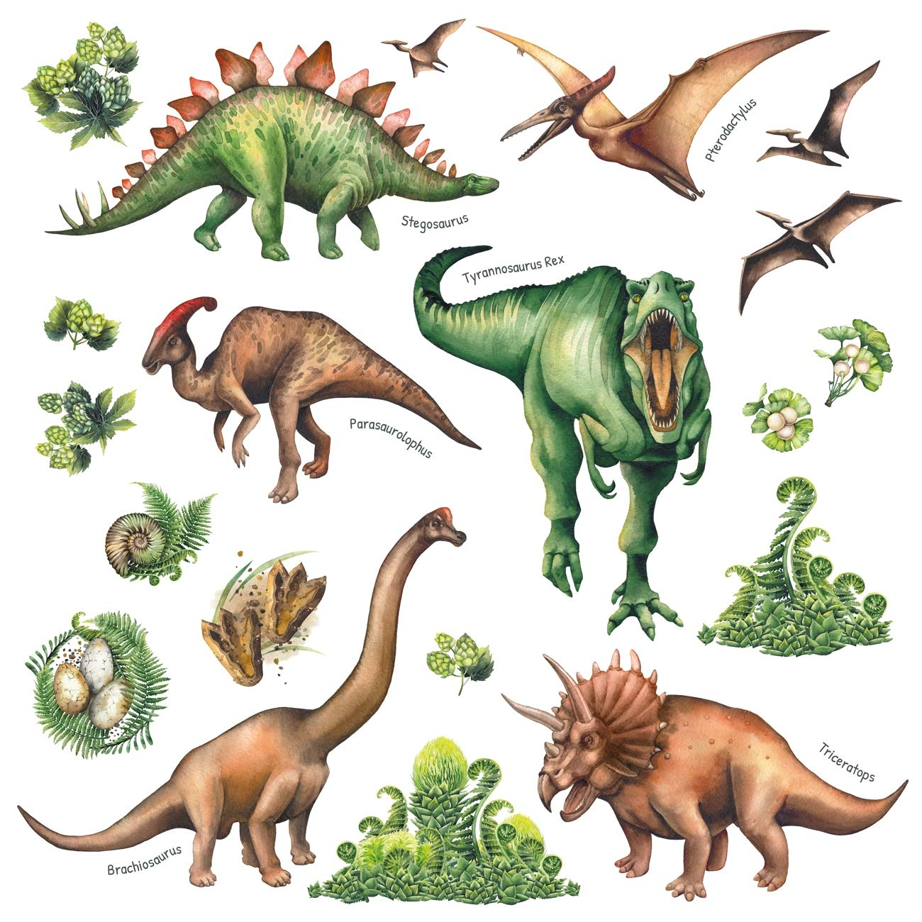 DECOWALL DS-8032 Colourful Dinosaur Kids Wall Stickers Wall Decals Peel and Stick Removable Wall Stickers for Kids Nursery Bedroom Living Room B Small