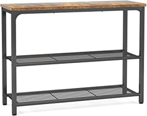 Ecoprsio Sofa Table Console Table with Double Mesh Shelves, Industrial Hallway Table Side Table for Front Hall, Hallway, Living Room, Coffee Bar, Kitchen, Vintage